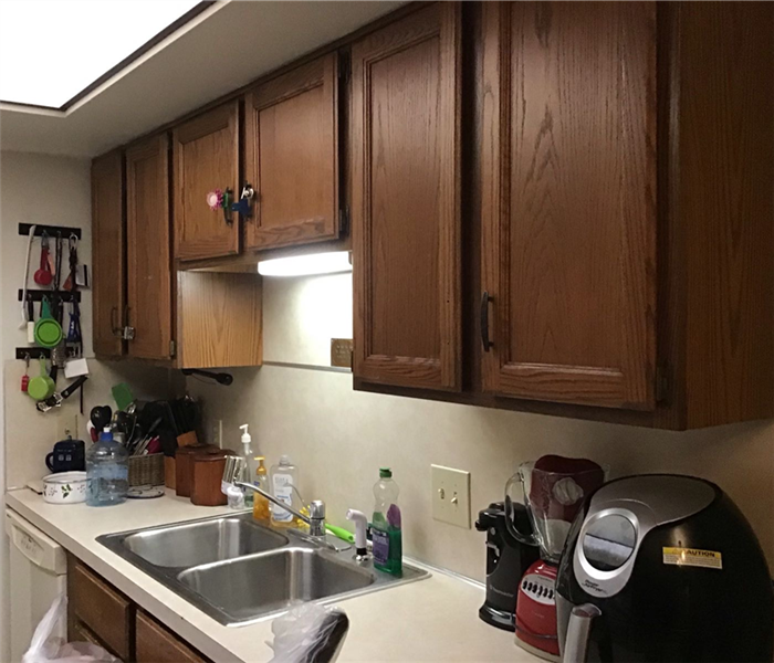 Clean kitchen counter and sink with organized appliances