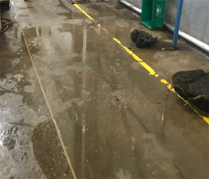 Local factory floor, flooded with water
