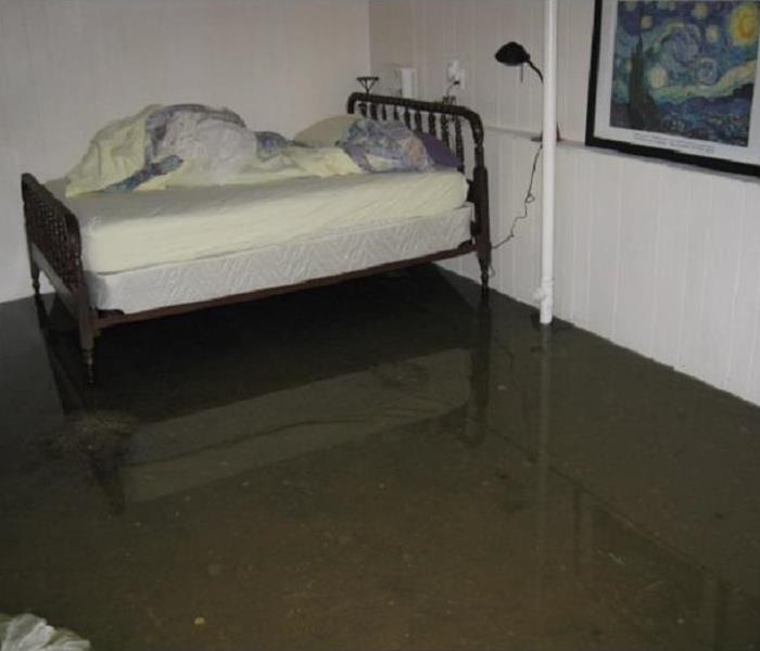 Flooded Basement bedroom with bed reflected kin standing water.